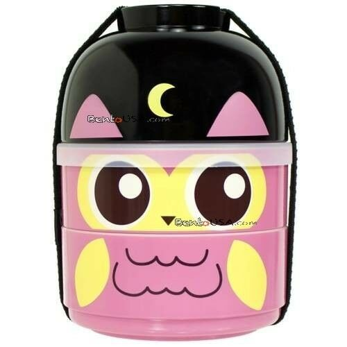 cutezcute 2 tier bento lunch box set baby bento buddies baby night owl ebay. Black Bedroom Furniture Sets. Home Design Ideas