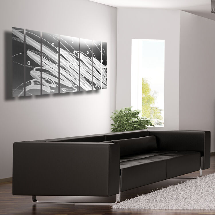 Silver Metal Wall Art Panels Modern