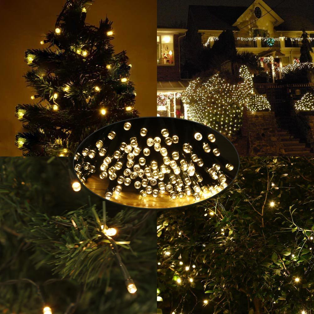 Led Outdoor Party String Lights: 49Ft 100 LED Warm White Solar String Fairy Light Outdoor