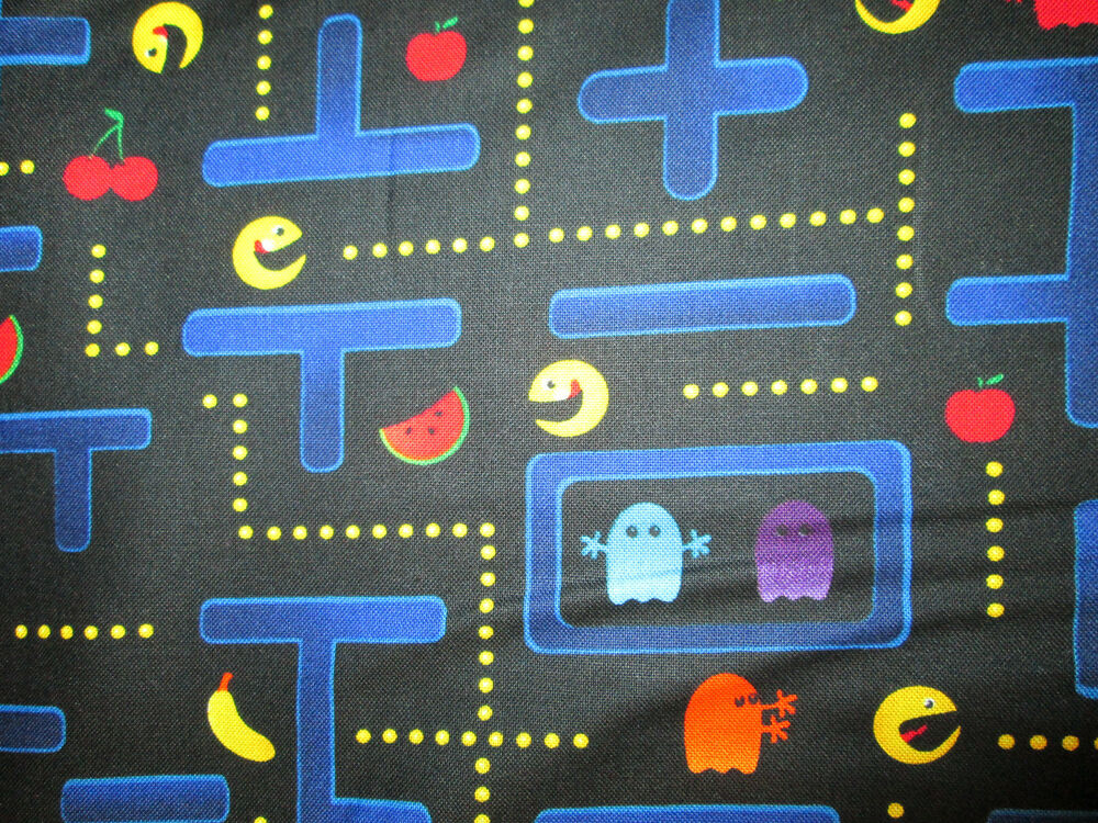 Pac man video nintendo space invaders games cottton fabric for Space is not fabric