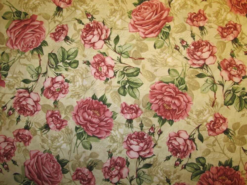 Vintage Paris Roses Antique Rose Flower Natural Cotton