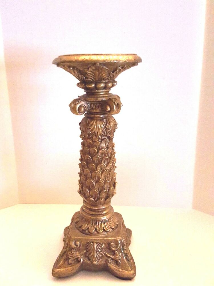 Elements ornate collectible gold rococo syroco pillar for Used candle holders