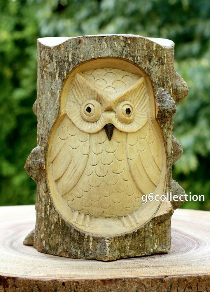 Unique gift hand carved wooden owl crocodile wood art home for Unusual decorative accessories