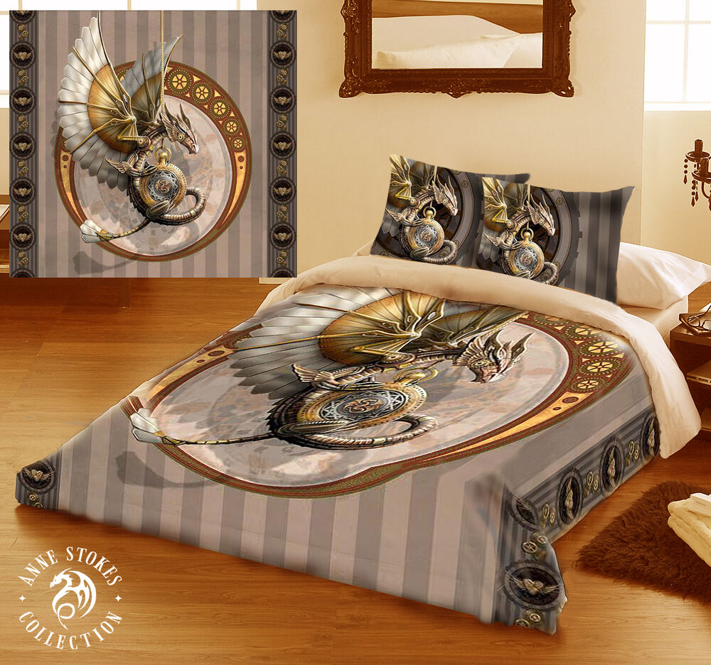 steampunk dragon duvet cover set for double bed artwork by anne stokes ebay. Black Bedroom Furniture Sets. Home Design Ideas