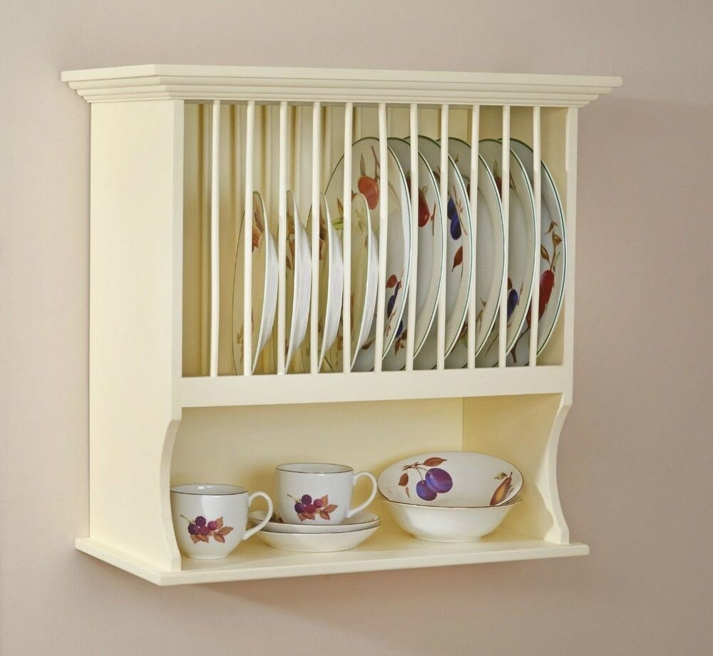 Kitchen Cabinets Plate Rack: Traditional Buttermilk Wall Mounted Plate Rack & Shelf