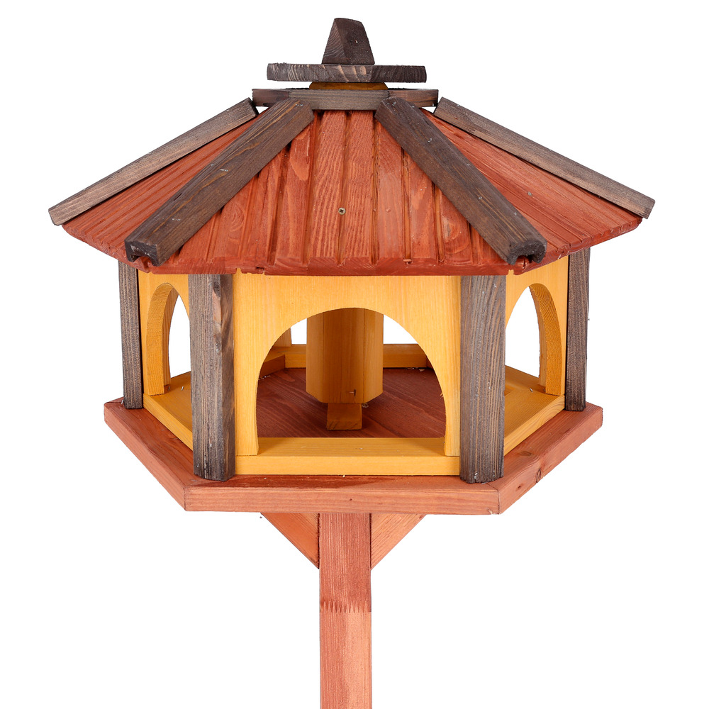 bird feeder with stand wooden feeding station bird 39 s house garden bird table kw ebay. Black Bedroom Furniture Sets. Home Design Ideas