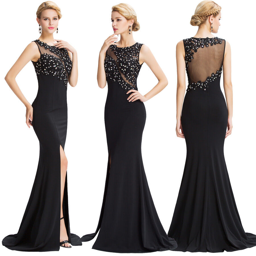 Sexy black dress long formal evening beaded prom for Sexy wedding reception dresses
