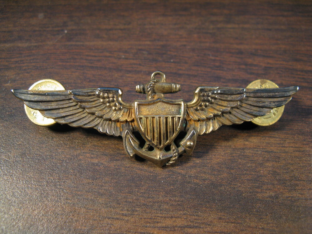 Wwii Full Size Sterling Silver 1 20 10k Gold Us Navy Air