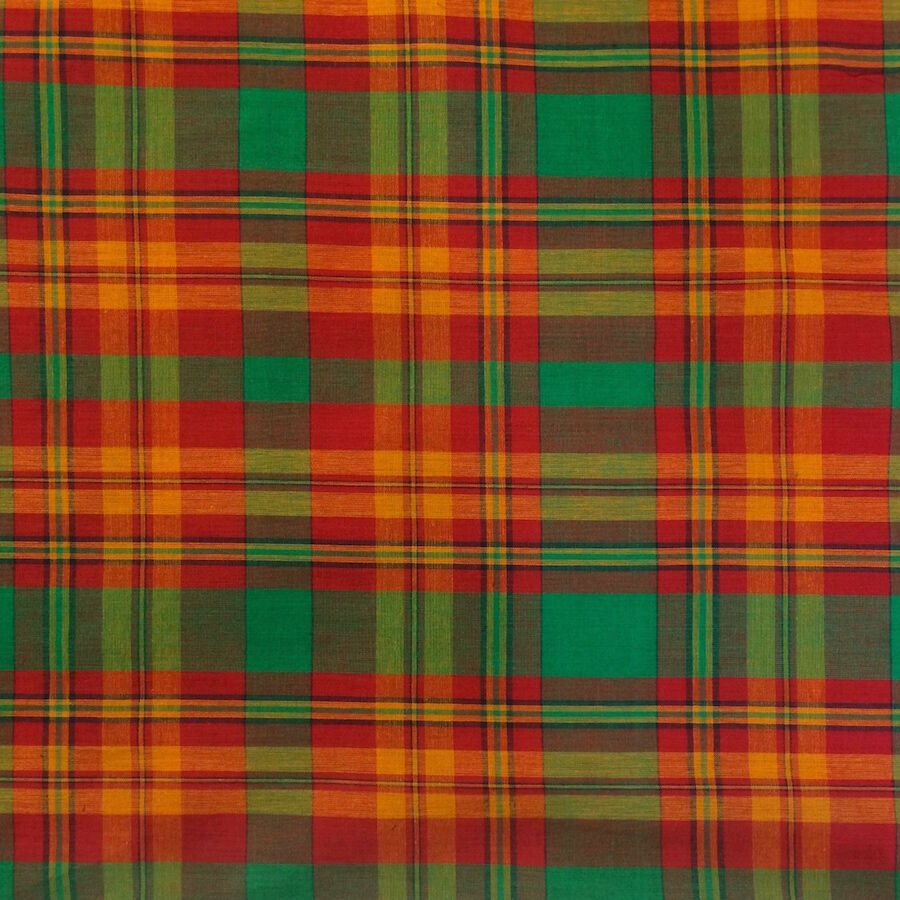 100 cotton madras plaid fabric by the yard green orange red style 301 ebay. Black Bedroom Furniture Sets. Home Design Ideas