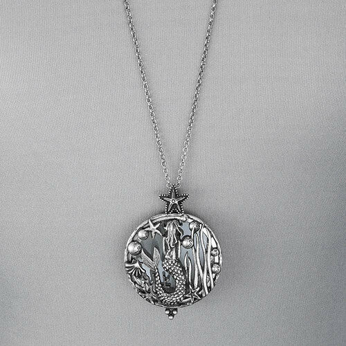 Long antique silver chain mermaid sea life magnifying for Sell gold jewelry seattle