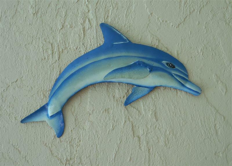 Dolphin Outdoor Wall Decor : Outdoor haitian quot metal blue and white dolphin hanging