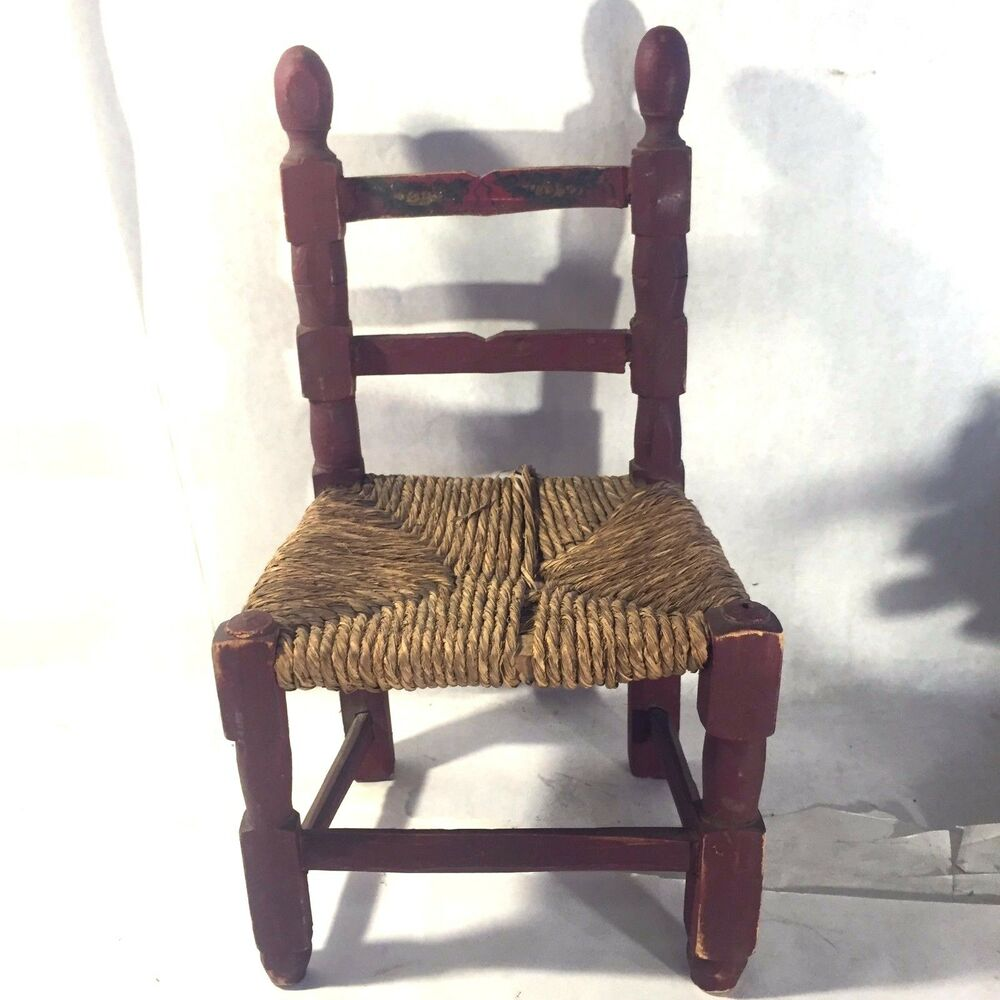 Details About Vtg Ladder Back Painted Primitive Child S Doll Wood Chair Folk Art Rope Seat