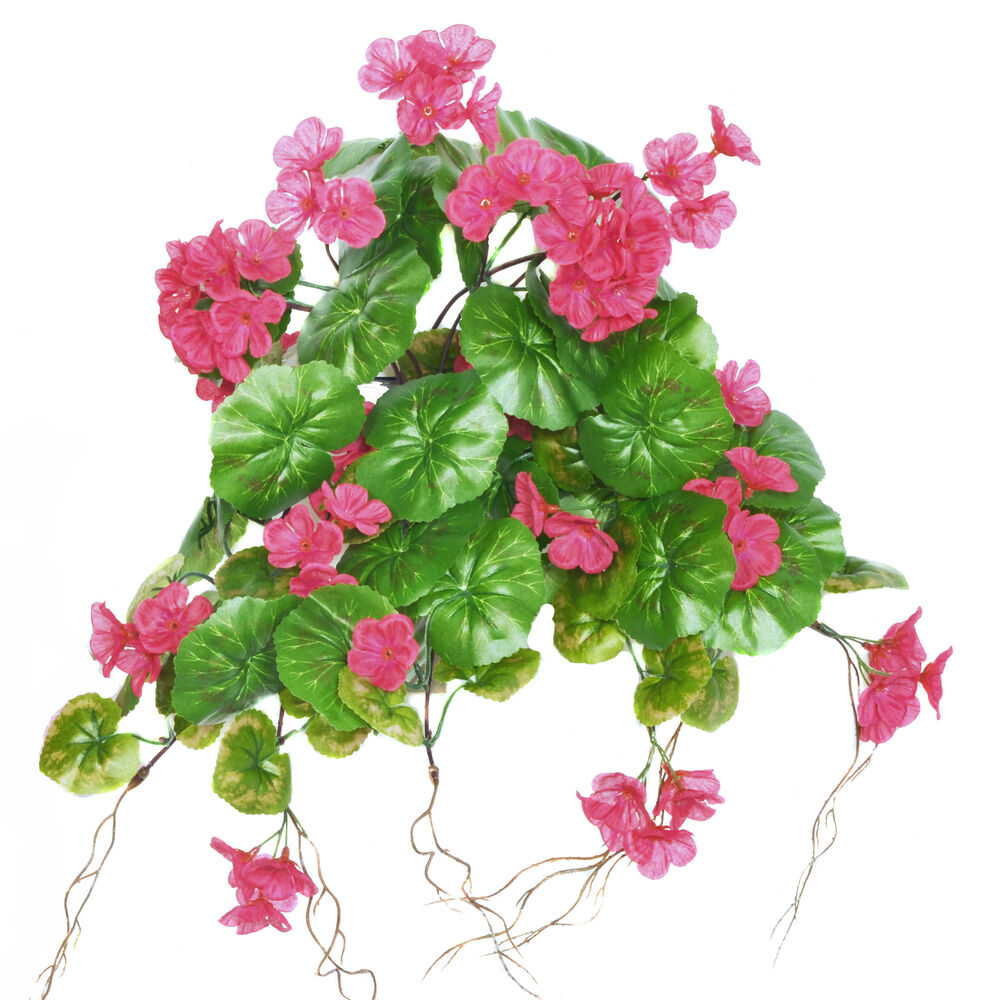 Artificial silk cerise geranium trailing plant 12 stems for Geranium artificiel jardiniere