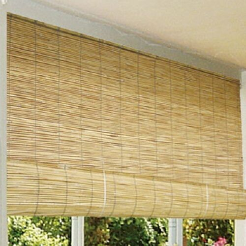 Bamboo patio blinds outdoor balcony deck 72 roll up wood for Exterior window shade