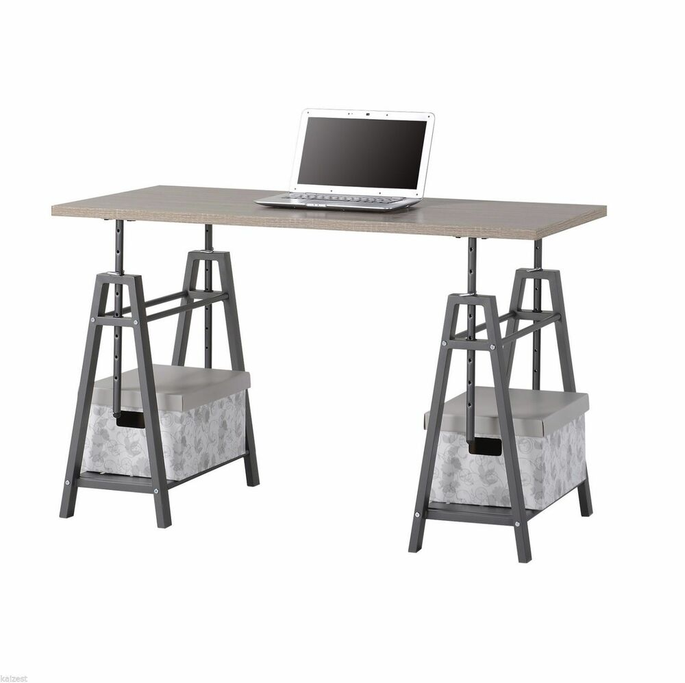 Modern standing desk adjustable sawhorse industrial table for Standing office desk furniture