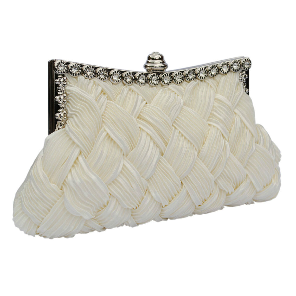 Ivory Satin Crystal Bridal Wedding Prom Ladies Purse Clutch Handbag Bag UK New | EBay