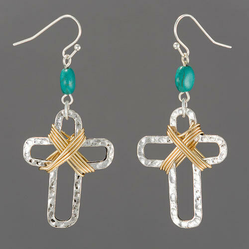 silver gold wire hammered cross turquoise drop dangle. Black Bedroom Furniture Sets. Home Design Ideas