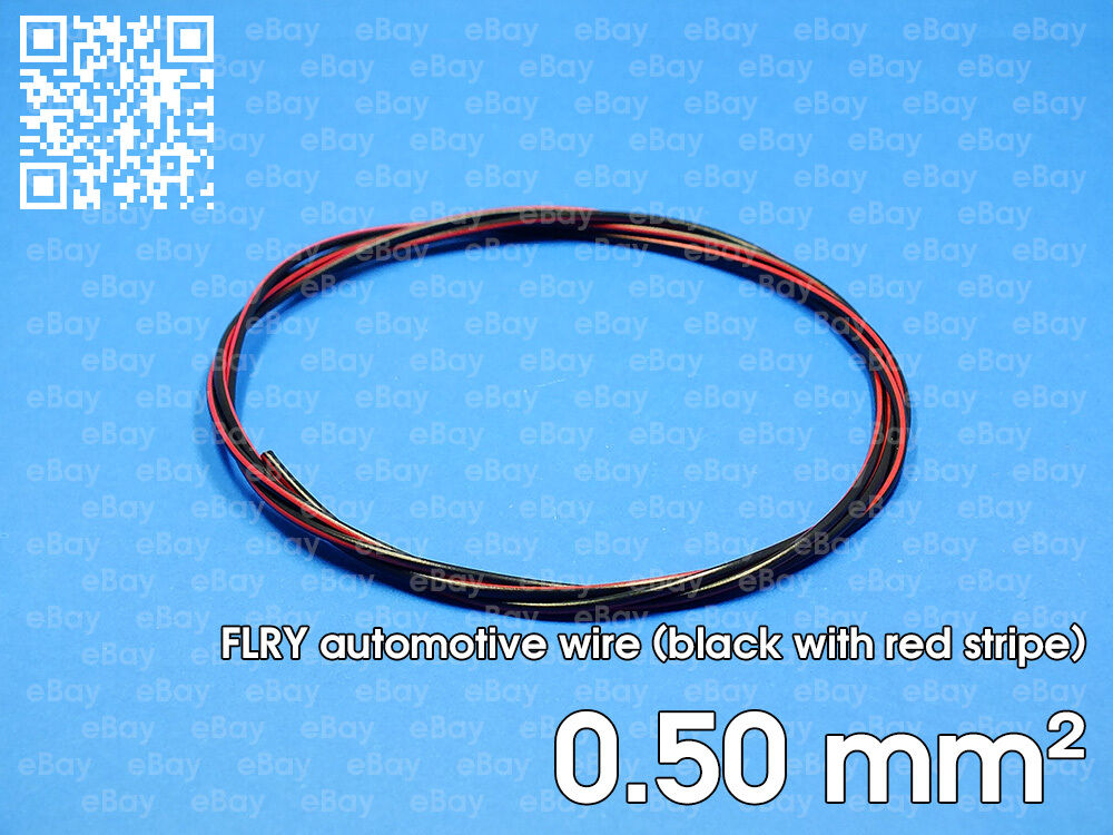 Automotive wire FLRY 0.5mm², black color with red stripe, 1 meter ...