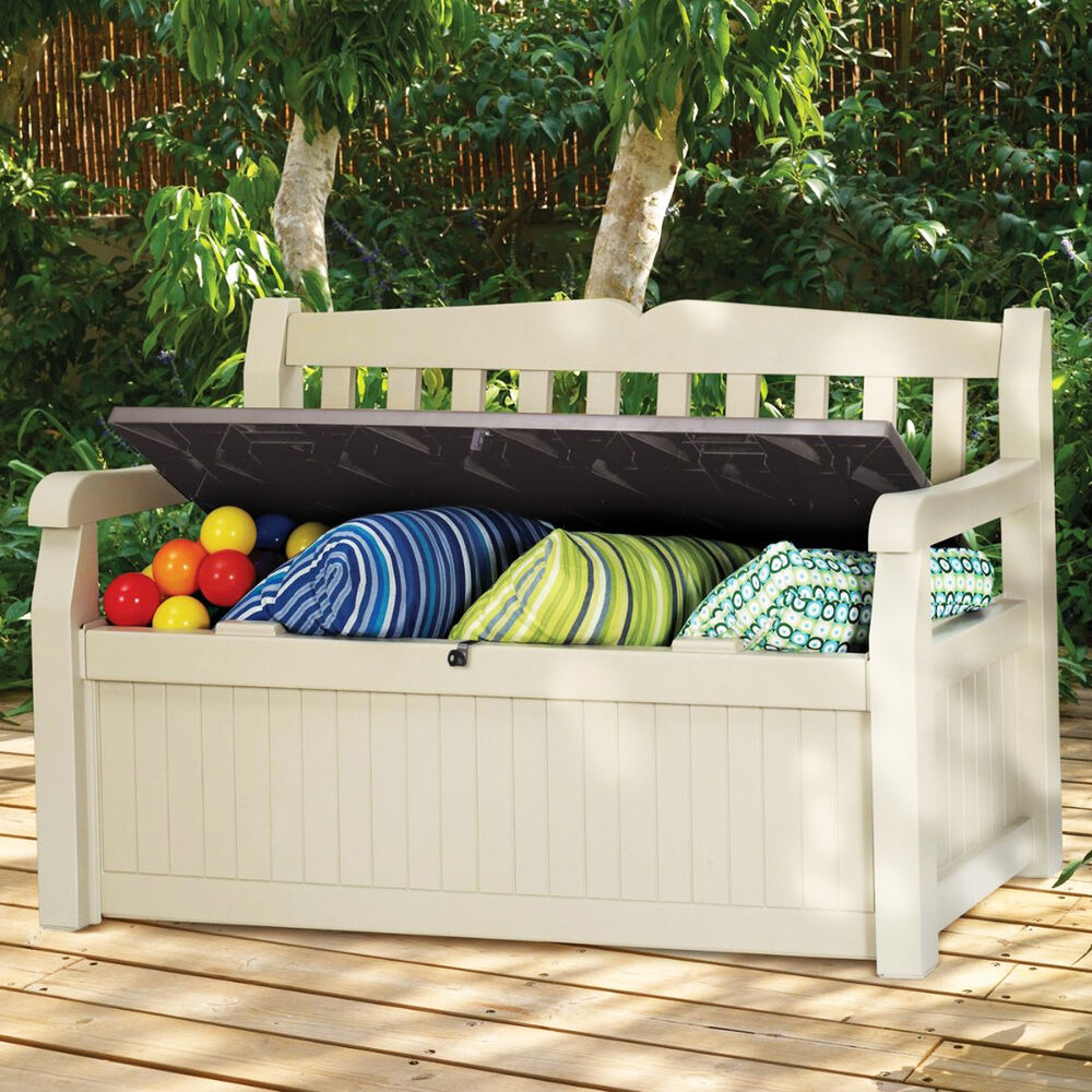 Modern storage bench organizer for outdoor indoor patio deck lawn garden tool us ebay Storage bench outdoor