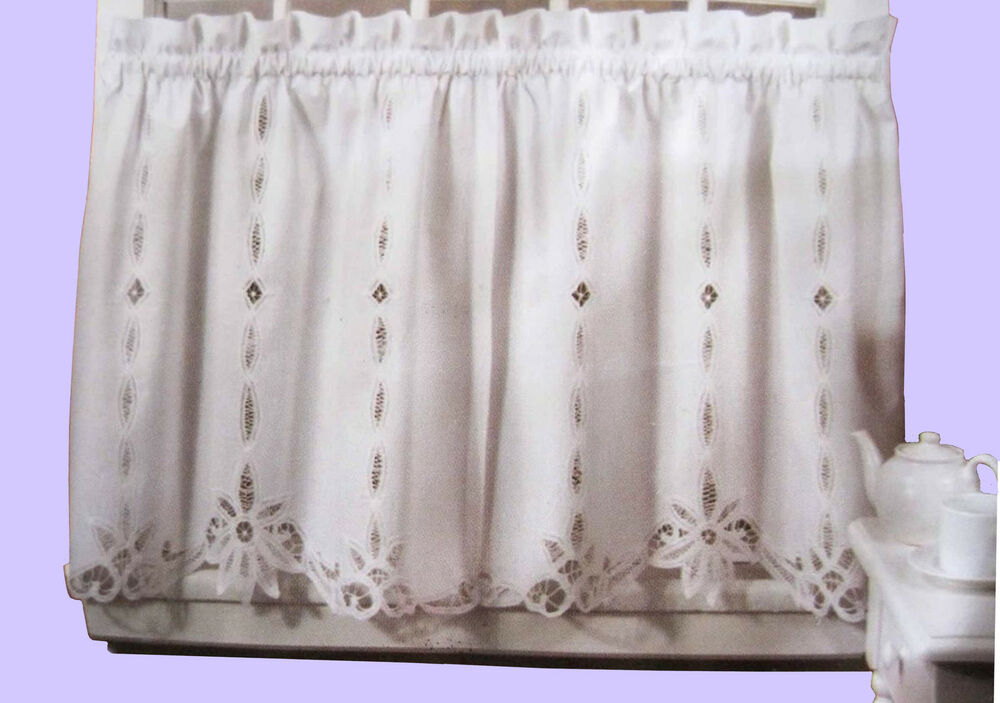 Battenburg Lace Cotton Kitchen Curtain White Caf 233