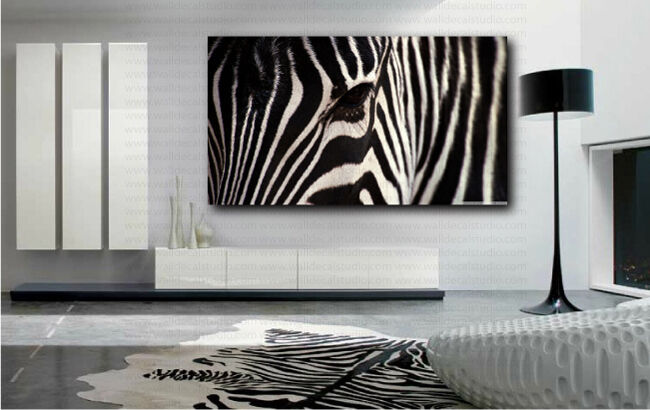 Zebra horse eye canvas art poster print home wall decor ebay for Zebra decorations for home