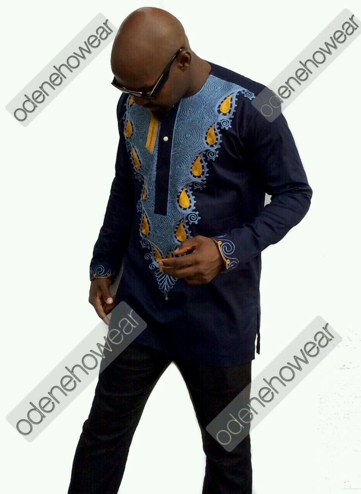 Odeneho Wear Menu0026#39;s Navy Polished Cotton Top/ Embroidery. African Clothing. | EBay
