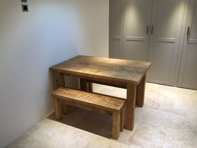 New solid wood rustic chunky wooden plank kitchen dining