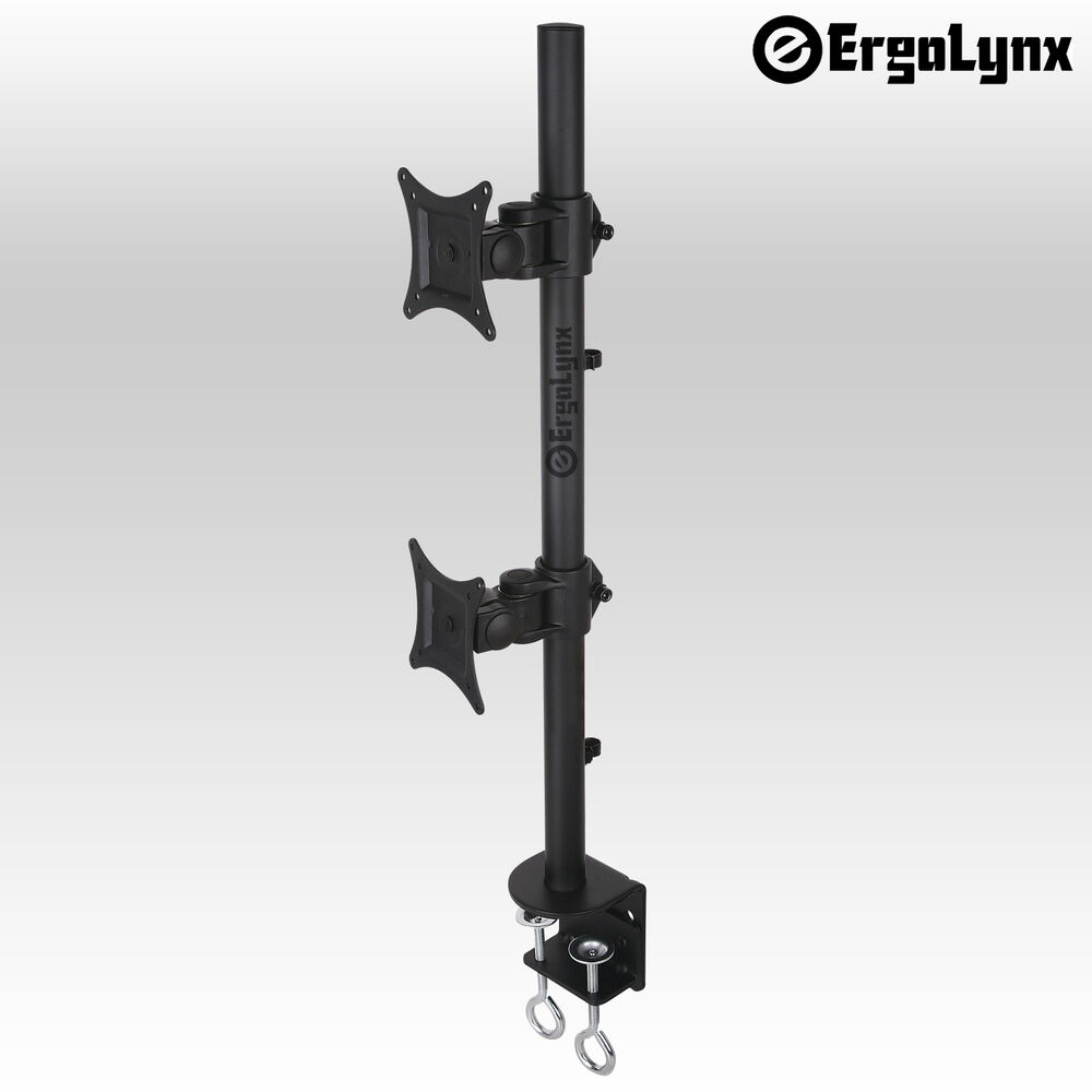 ergolynx double screen vesa monitor pole arm desk mount. Black Bedroom Furniture Sets. Home Design Ideas