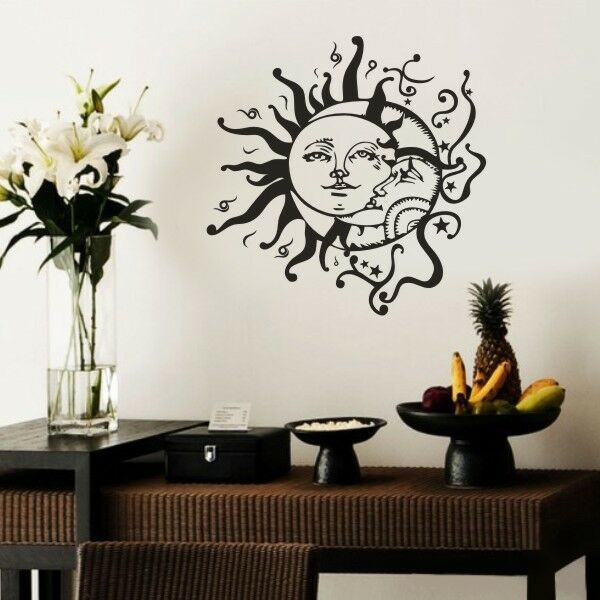 sun and moon stars wall sticker inspirational vinyl ethnic removable art decor ebay. Black Bedroom Furniture Sets. Home Design Ideas
