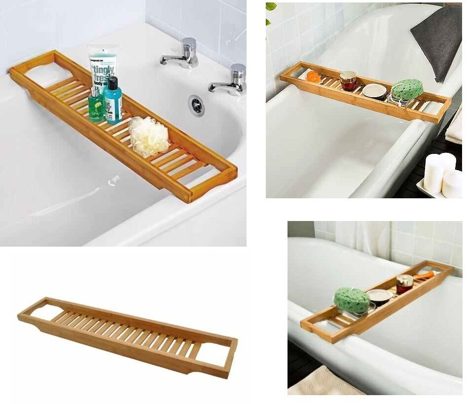 Bamboo Over Bath Rack Tidy Bathroom Storage Stand Tray