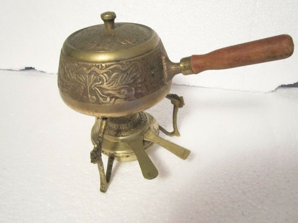 Food Warmer Burner ~ Vintage brass fondue pot w burner food warmer server