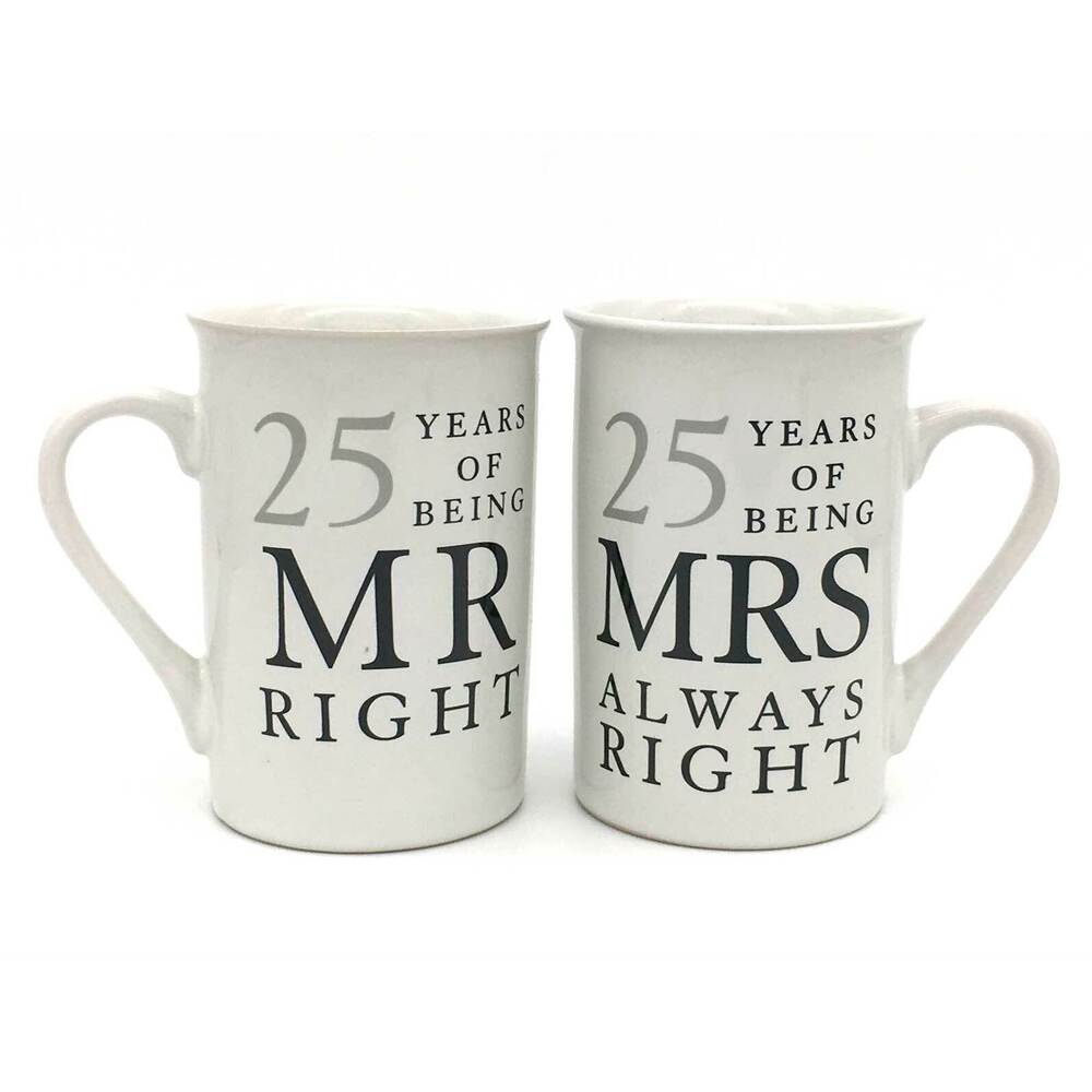 Unusual Silver Wedding Anniversary Gifts: 25th Silver Wedding Anniversary Mugs Gift Set WG67725