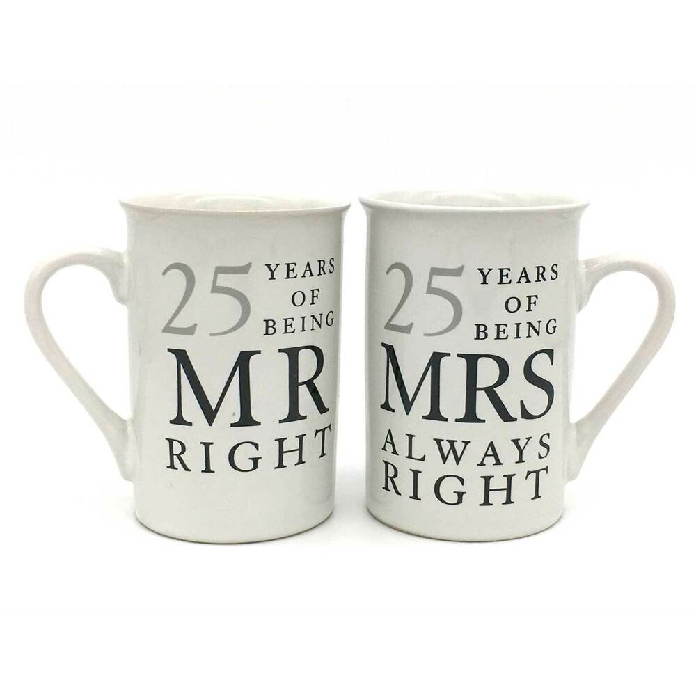 Gift For 25 Wedding Anniversary: 25th Silver Wedding Anniversary Mugs Gift Set WG67725
