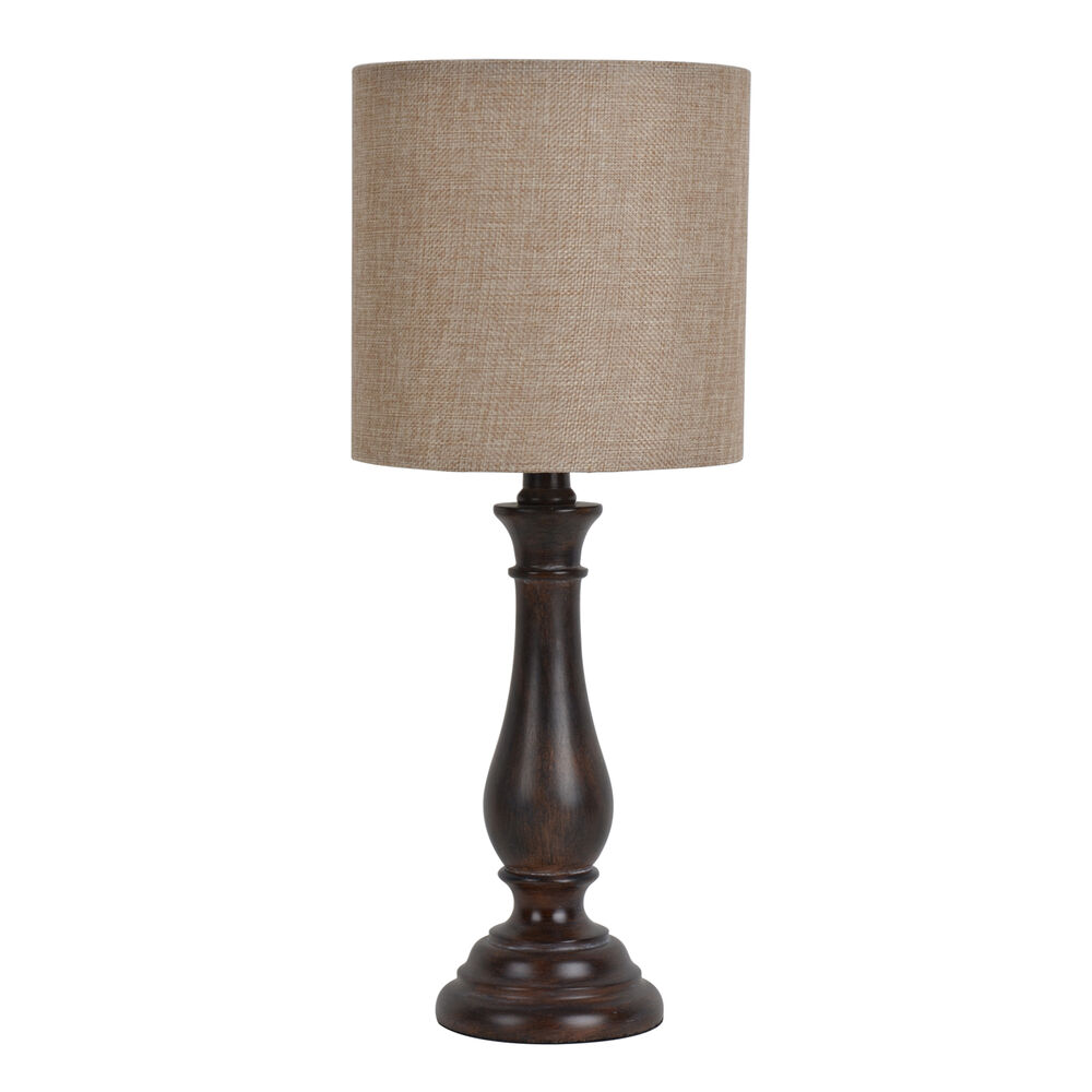 Essential home wood stick table lamp with shade table lamps lamps ebay - Chandelier desk lamp ...