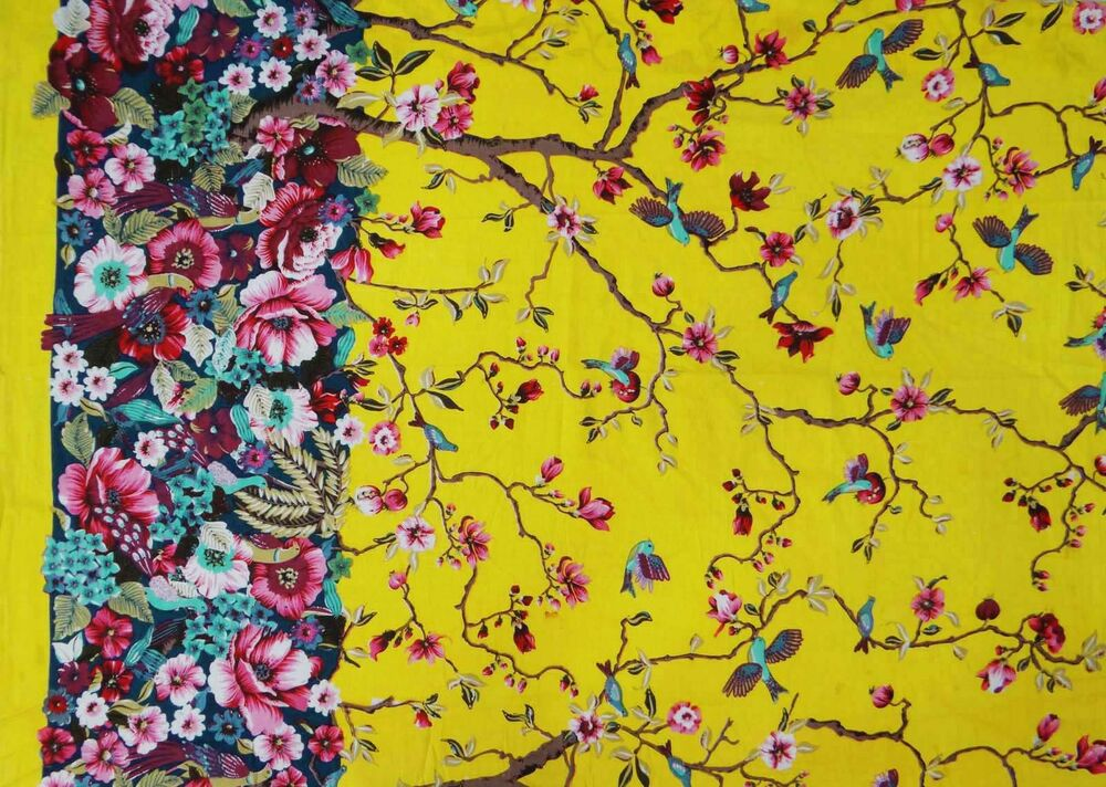 Yellow dressmaking fabric floral printed pure cotton 45 for Dressmaking fabric