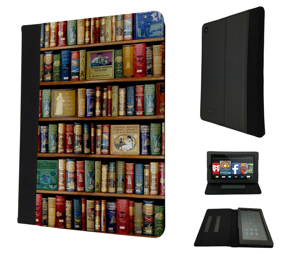 4 library books shelves case cover for kindle fire 7 hd7