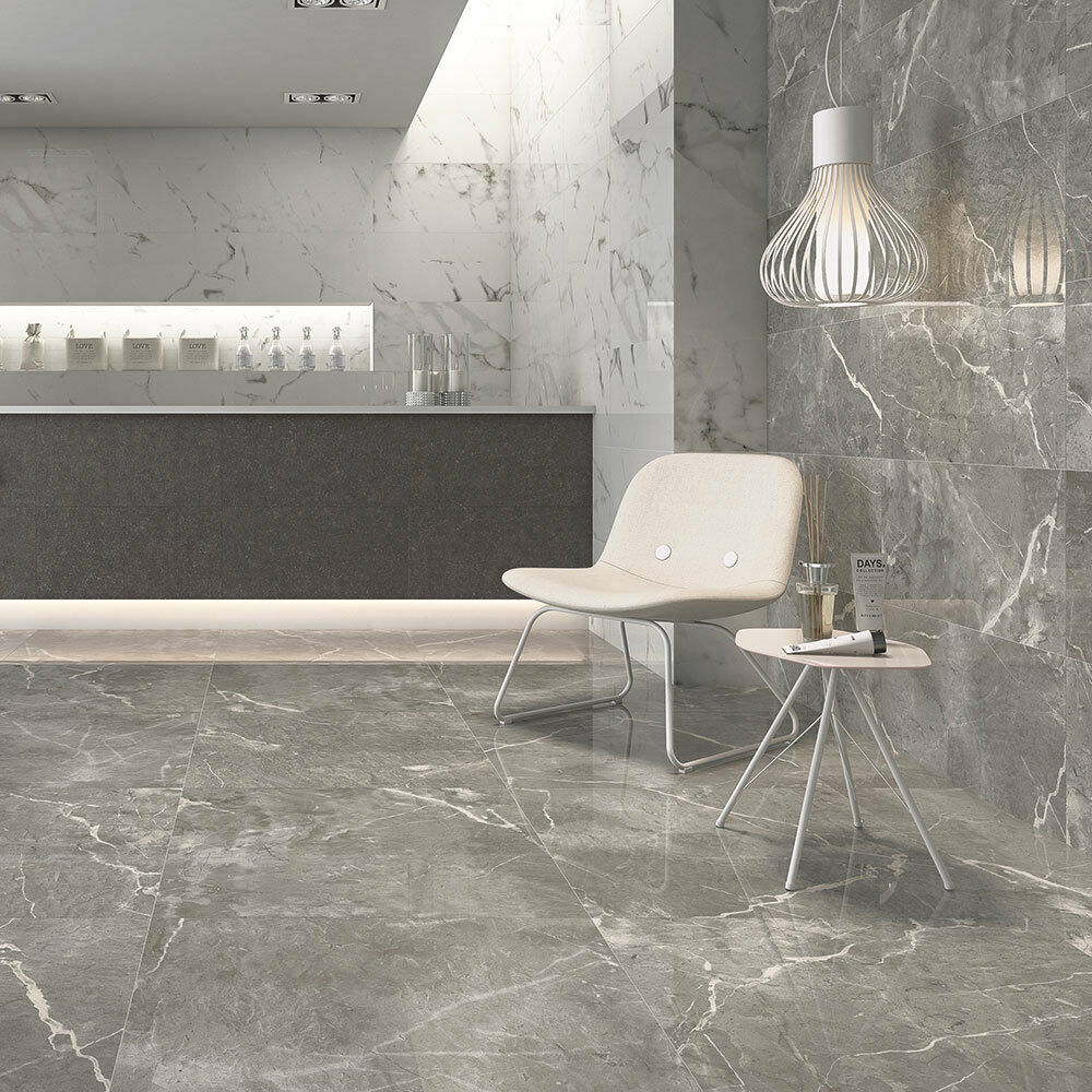 Grey And White Marble Bathroom: OL Esparada Grey Marble Effect Matt Porcelain Floor Tile