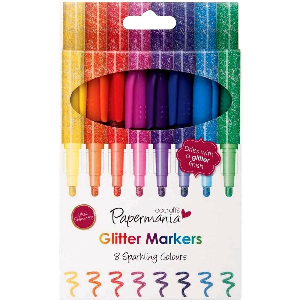 Papermania glitter marker pens 8 sparkling colours markers for Arts and crafts glitter