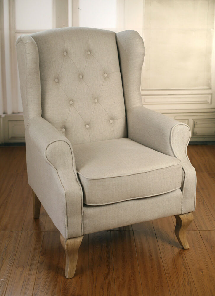 Wingback Button Back Linen Chair Oak French Provincial Arm