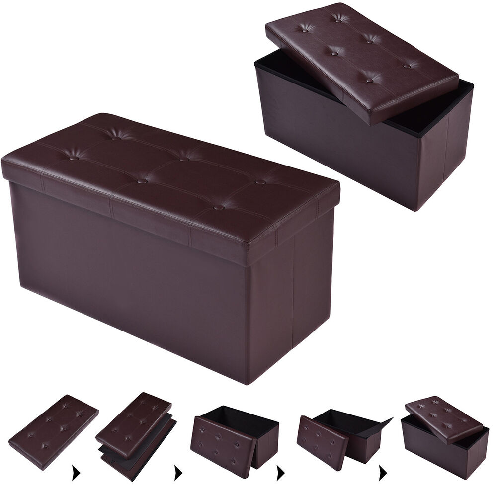 30 x15 x15 large folding storage faux leather ottoman pouffe box stool brown ebay. Black Bedroom Furniture Sets. Home Design Ideas