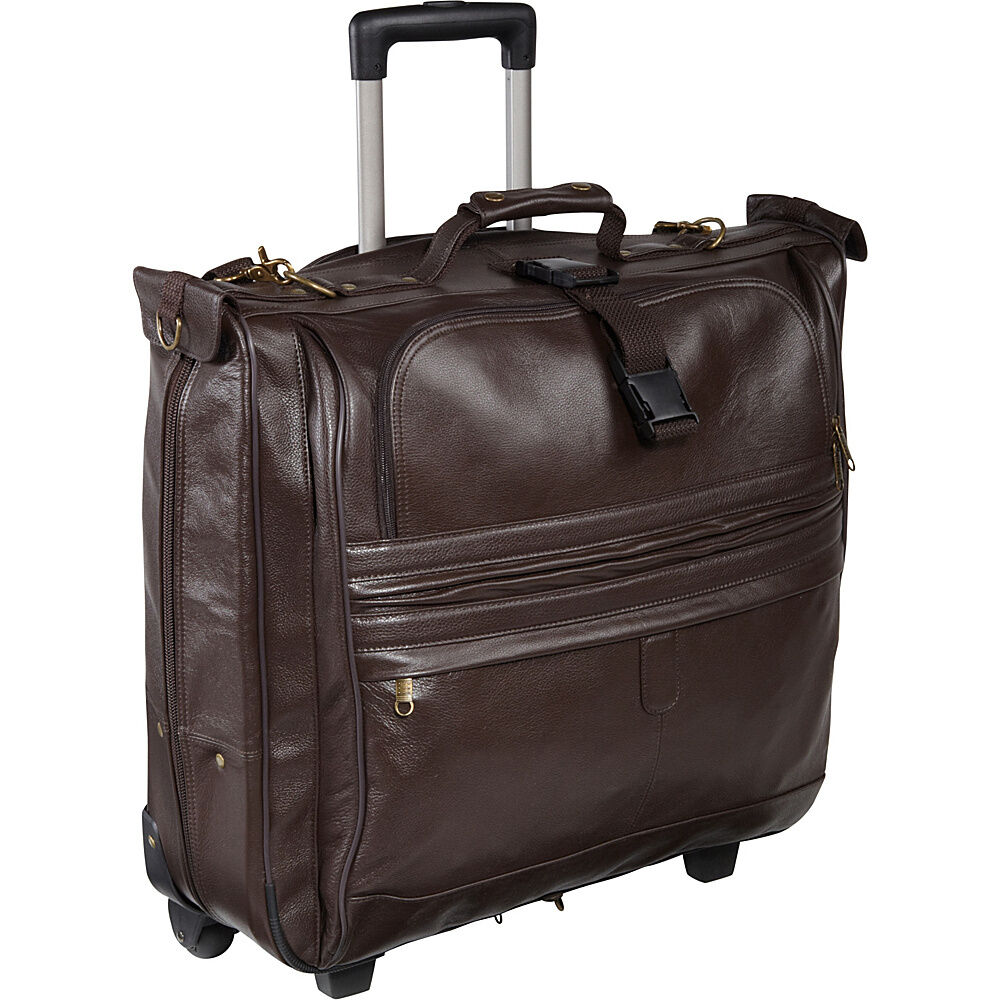 garment_AmeriLeather Leather Rolling Garment Bag - Chestnut | eBay