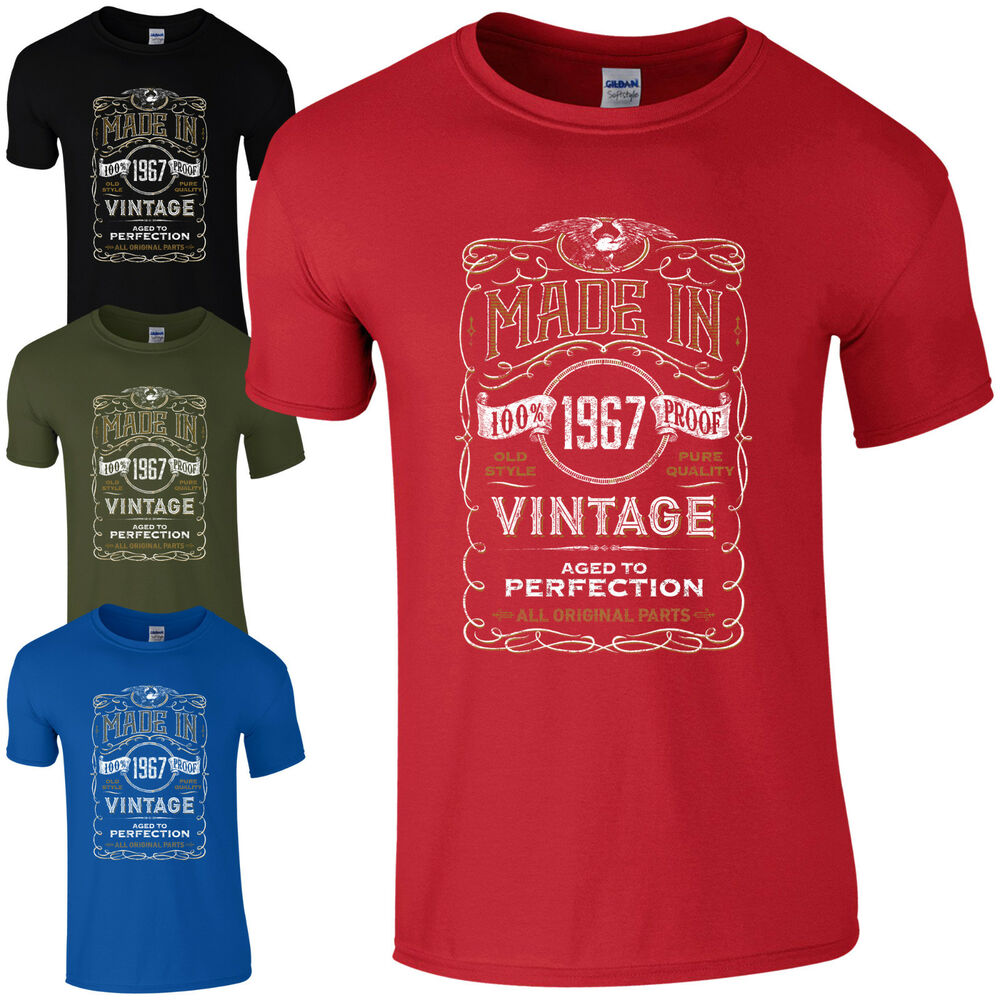 Details About Made In 1967 T Shirt Born 52nd Year Birthday Age Present Vintage Funny Mens Gift