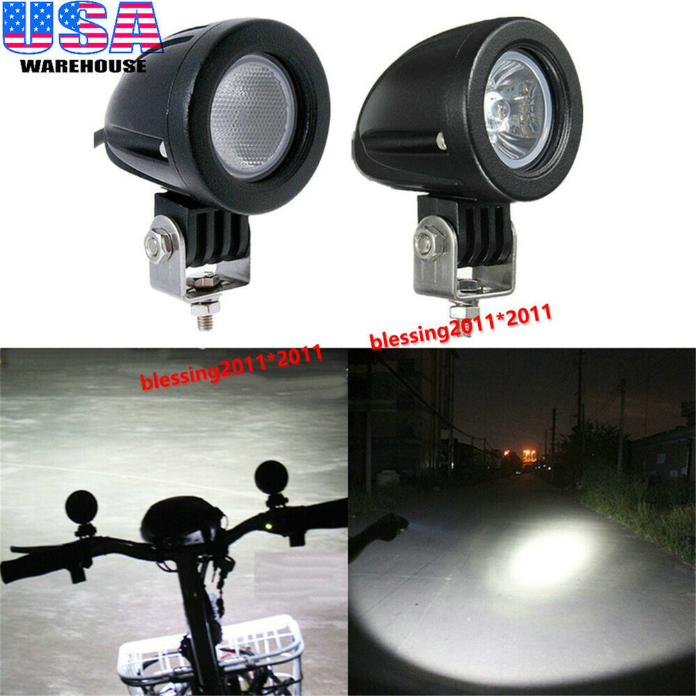 2x cree led work lights 10w spot flood offroad driving fog lights motorcycle atv ebay. Black Bedroom Furniture Sets. Home Design Ideas