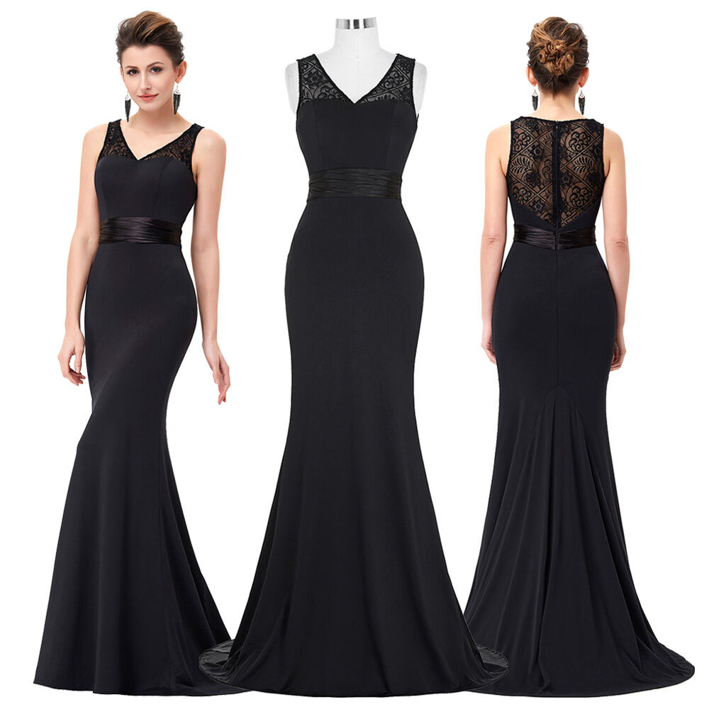 Womens Long Black Lace Cocktail Evening Party Prom Formal ...