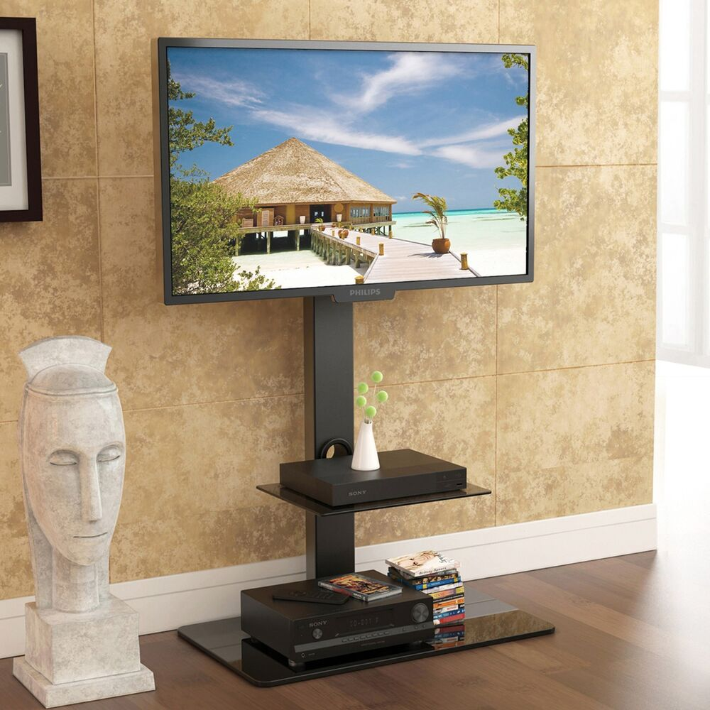 Floor Tv Stand With Swivel Mount Component Shelf For 32 65