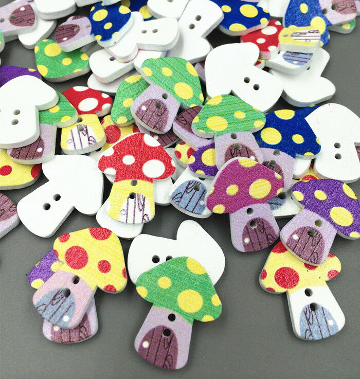 Diy mushrooms wooden buttons fit sewing scrapbook for Decorative buttons for crafts