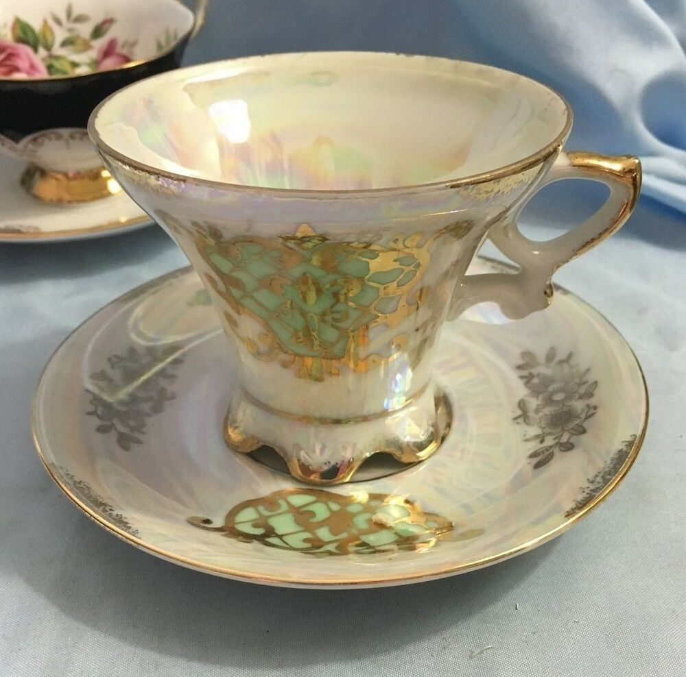 Royal Crown Luster Ware Gold Gilt Footed Tea Cup And