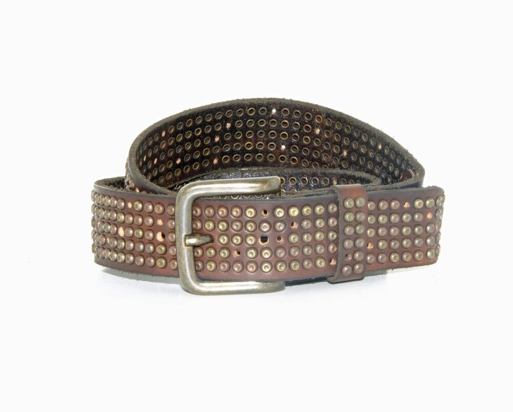 will leather goods s studded brown leather belt
