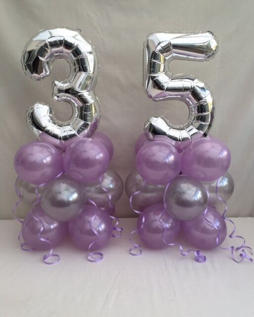 35TH Birthday Balloon Kitlilac And Silver Table Centre Display Cluster