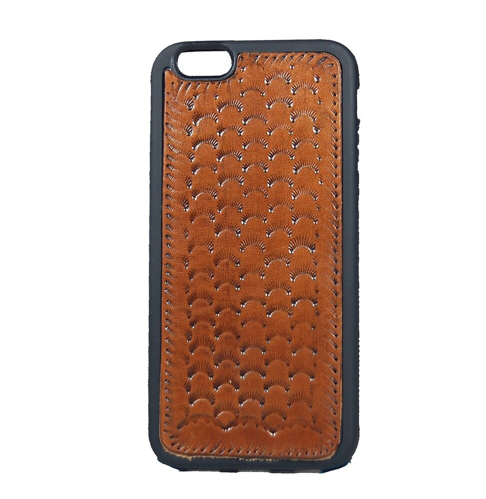 leather tan brown phone case stamped western cowboy iphone 4  5  6  6  stitched